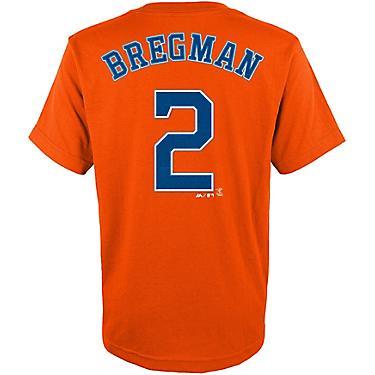 brand new b8083 ec619 Majestic Boys' Houston Astros Alex Bregman 2 Name and Number T-shirt