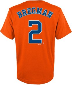 Majestic Boys' Houston Astros Alex Bregman 2 Name and Number T-shirt