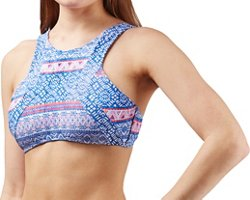 O'Rageous Juniors' Tulum Stripe High Neck Swim Top