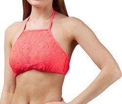 O'Rageous Juniors' Solid Crochet High-Neck Bralette Swim Top