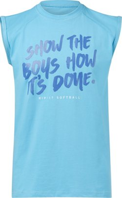 RIP-IT Girls' Show the Boys Cutoff Crew Softball Tank Top
