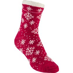 womens lodge snowflake pattern crew socks