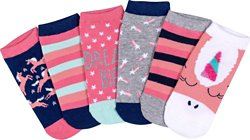 BCG Kids' Unicorn No-Show Socks 6 Pack