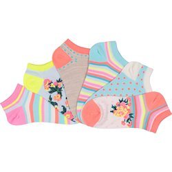 Bright Floral No-Show Socks 6 Pack