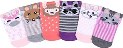BCG Kids' Animal Faces No-Show Socks 6 Pack