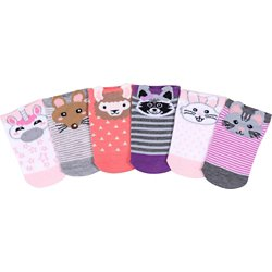 Kids' Animal Faces No-Show Socks 6 Pack