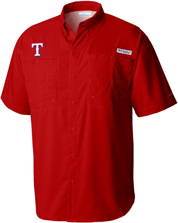 953da803bbc Columbia Sportswear Men's Texas Rangers PFG Tamiami Button Down Shirt    Academy