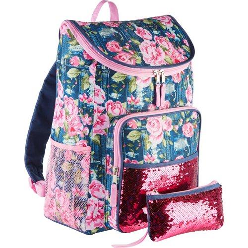 Confetti Kids' Floral Jar Top Flip Sequin Backpack
