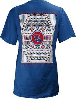 Three Squared Women's Louisiana Tech University Aztec Diamond Coastal T-shirt