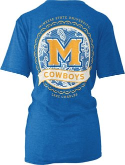 Three Squared Women's McNeese State University Lace Emblem Melange T-shirt