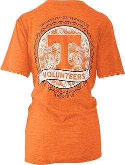 Three Squared Women's University of Tennessee Lace Emblem Melange T-shirt
