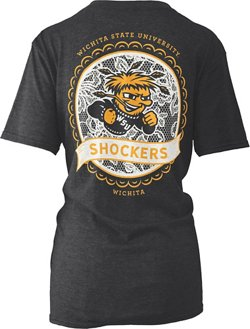 Three Squared Women's Wichita State University Lace Emblem Melange T-shirt