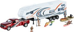New-Ray Toys Die-Cast Pickup with Camper Fishing Set