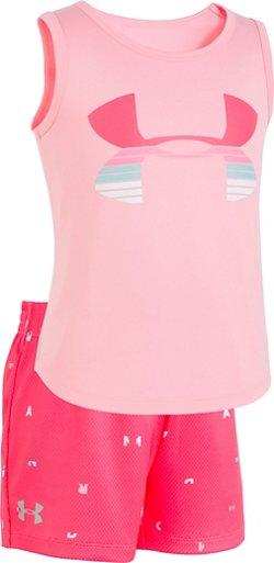 Under Armour Girls' Scramble Big Logo Tank Top and Shorts Set