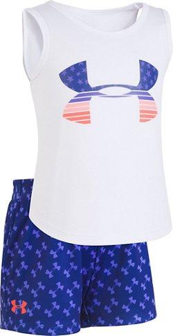 Under Armour Girls' Flag Big Logo Tank and Shorts Set