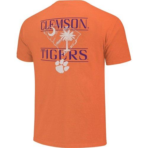 Image One Men's Clemson University Wood Grain State T-shirt