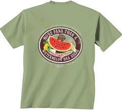 New World Graphics Women's Texas State University Watermelon Label T-shirt
