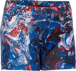 Capezio Girls' Future Star Patriotic Swirl Printed Gymnastics Shorts