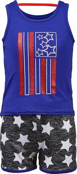 Cheetah Toddler Girls' Americana Tank Top and Shorts Set