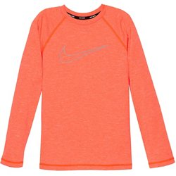 Boys' Swim Heather Swoosh Outline Long Sleeve Hydroguard Rash Guard