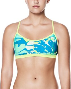 Nike Women's Crossback Drift Graffiti Performance Sport Swim Top