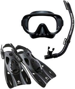 ReefTourer Adults' Single-Window Mask, Snorkel and Fin Traveling Set