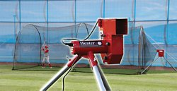 Real Ball Pitching Machine and 24 ft Xtender Batting Cage Combo