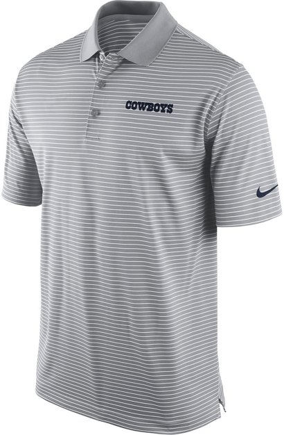Nike Men S Dallas Cowboys Striped Dri Fit Polo Shirt Academy