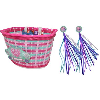 raskullz girls hearty gem bicycle basket and streamers academy