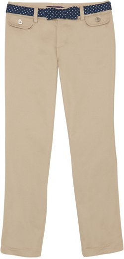 French Toast Girls' Twill Straight Leg Belted Pants