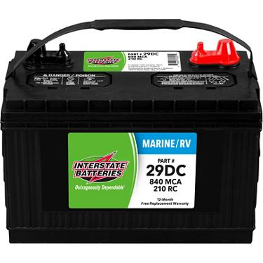 Interstate Deep Cycle Marine Battery >> Interstate Batteries Deep Cycle Group 29 840 Marine Cranking Amp