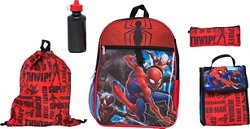 Spider Man Boys' 5 Piece Set Backpack