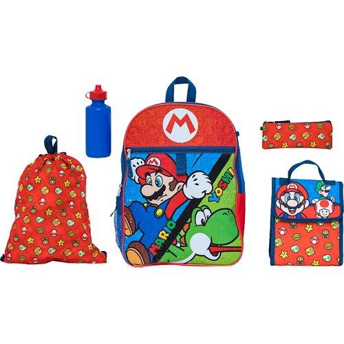 Nintendo Mario Kids' 5 Piece Set Backpack