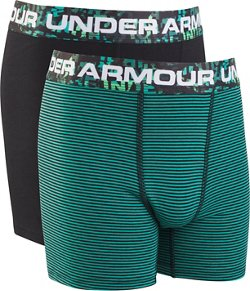 Under Armour Boys' Solid Stripe Cotton Boxer Briefs 2-Pack