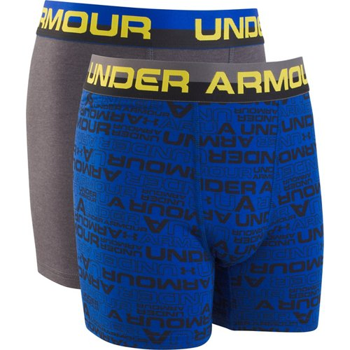 Under Armour Boys' Wordmark Cotton Boxer Briefs 2-Pack