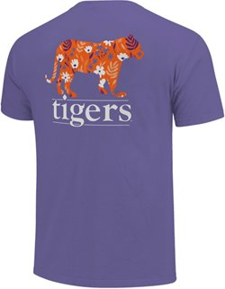 Image One Women's Clemson University Silhouette Lined Type Comfort Color T-shirt