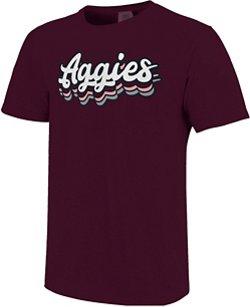 Image One Women's Texas A&M University Retro Stack Script Comfort Color T-shirt