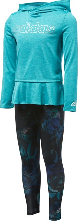 adidas Girls' Melange Printed Shirt and Tights Set