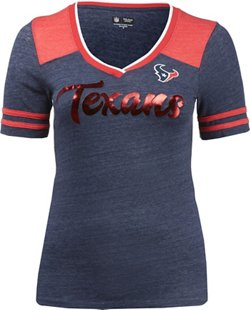 Women's Houston Texans Scripted Foil Triblend V-Neck T-shirt