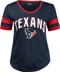 Women's Houston Texans Arched Foil Design V-neck Mesh T-shirt