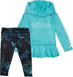 adidas Toddler Girls' Melange Printed Shirt and Tights Set