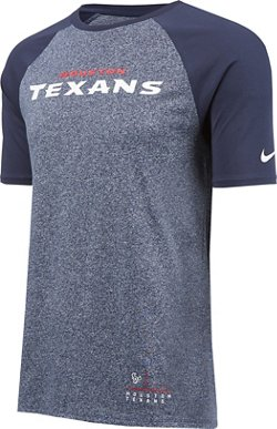 Nike Men's Houston Texans Marled Wordmark Raglan T-shirt
