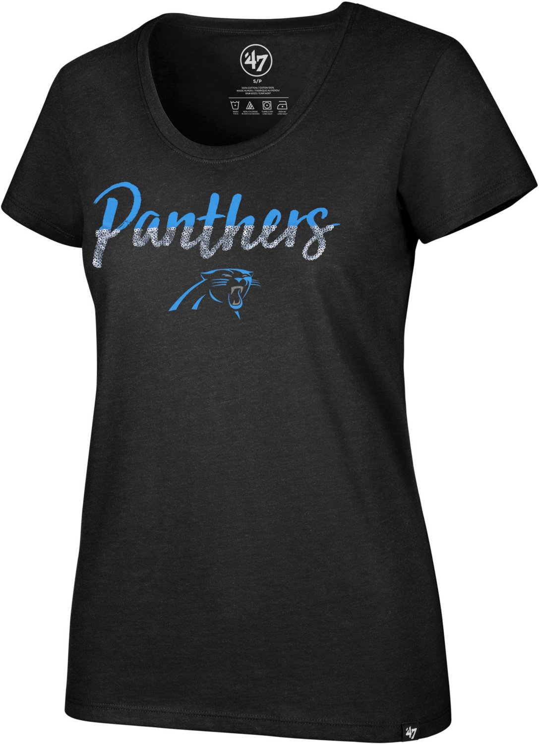 d28c4245 '47 Carolina Panthers Women's Sparkle Dip Scoop Neck T-shirt