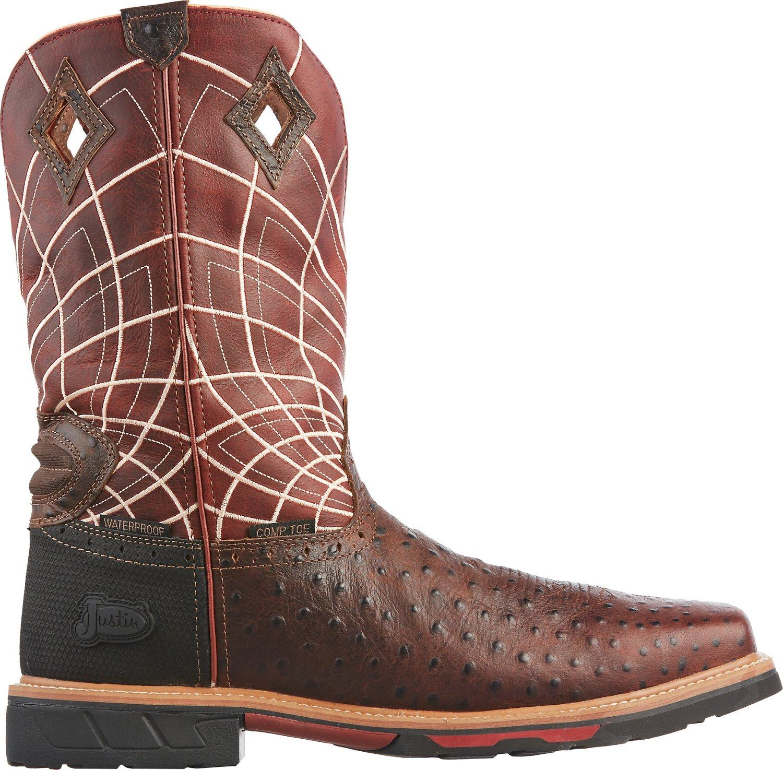 a23928973ac Justin Men's Derrickman Ostrich EH Composite Toe Wellington Work Boots