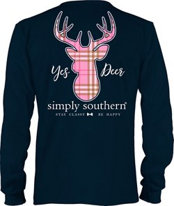 Simply Southern Women's Yes Deer Long Sleeve T-shirt