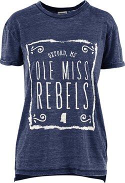 Three Squared Women's University of Mississippi Ruffy Vintage Wash Boyfriend T-shirt