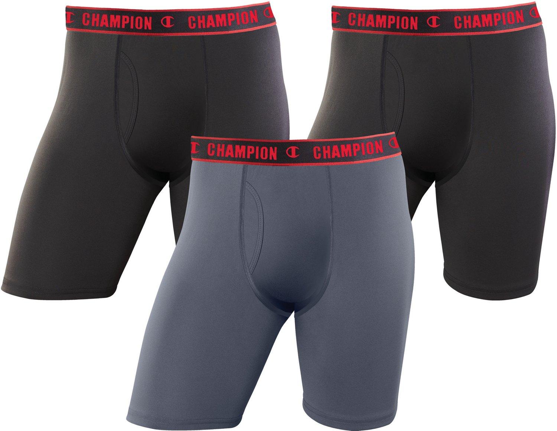 Champion Men's Active Performance Long Leg Boxer Briefs 3-Pack