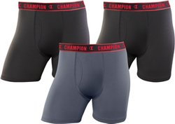 Champion Men's Active Performance Regular Boxer Briefs 3-Pack