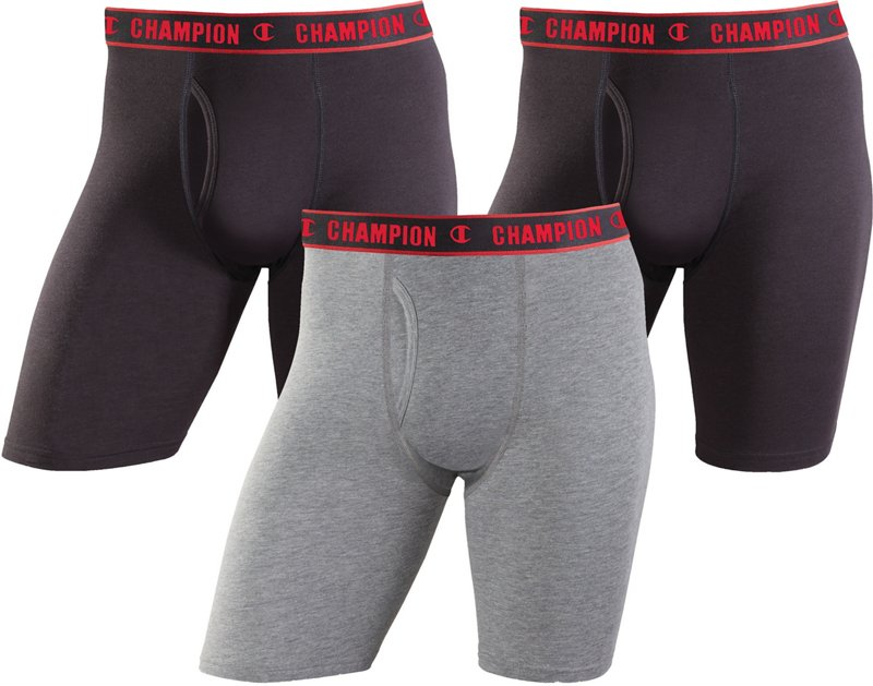 Champion Men's Performance Long Leg Boxer Briefs 3-Pack (Black/Stormy Night, Size Small) - Men's Athletic Apparel, Men's Athletic Performance Bottoms at Acad... thumbnail