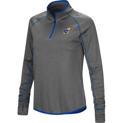Colosseum Athletics Women's University of Kansas Shark 1/4 Zip Windshirt